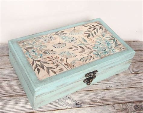 Small Bag Heejou Green Caja tea box mint green wooden box tea bag storage painted