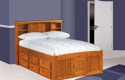 full side bed bedroom simple full size captains bed decor with wood