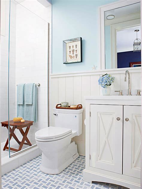 bathroom tour blue white cottage style