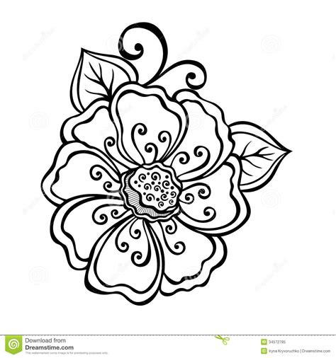 beautiful designs decorative flower with leaves royalty free stock photo