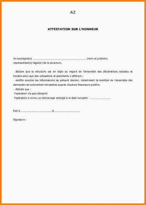 Exemple De Lettre Qui Certifie Sur L Honneur attestation sur l honneur type