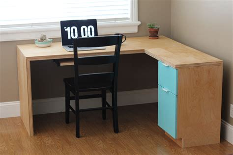 l shape modern plywood desk do it yourself home projects
