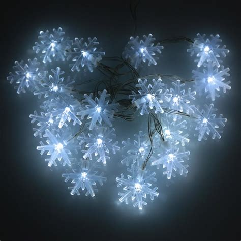 20 Led Snowflake Christmas Solar Led String Lights Holiday Solar Snowflake Lights
