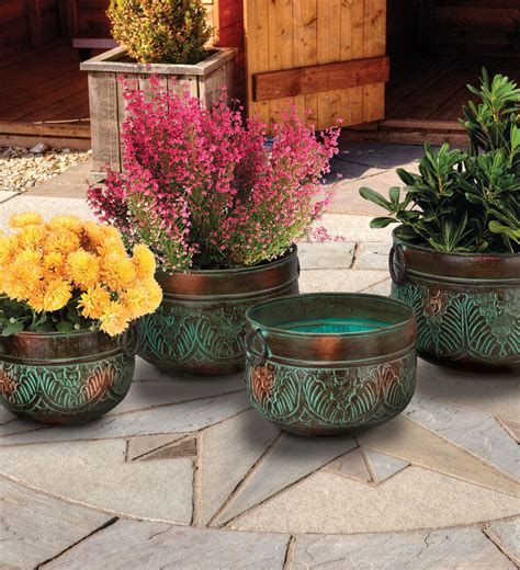 patio flower pots set 4 metal iron handles bronze leaves planters garden patio decor flower pots plant stands