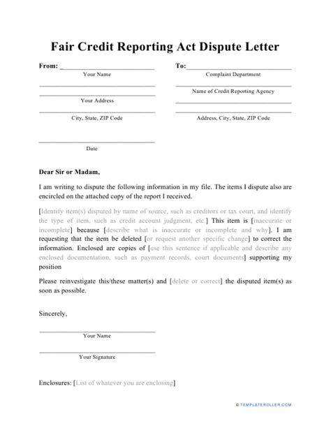 sample fair credit reporting act dispute letter
