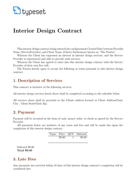 interior decorating contract template contracts interior design contract template template