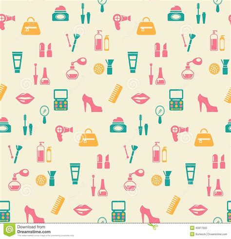 fashion vector background pattern hairstyling fashion and makeup seamless pattern stock