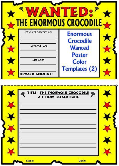 book report wanted poster template crocodile lesson plans author roald dahl