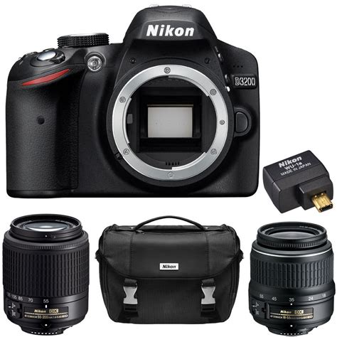 Nikon Tipe D3200 deal refurbished nikon d3200 w 18 55 55 200 lenses wu 1a adapter for 299