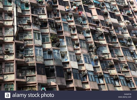 appartments in hong kong apartment building facade in hong kong stock photo