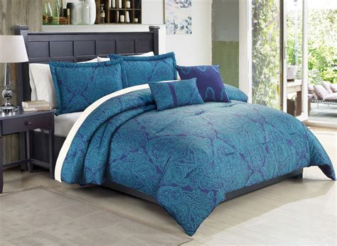 5 pc teal royal blue queen comforter set medallion paisley