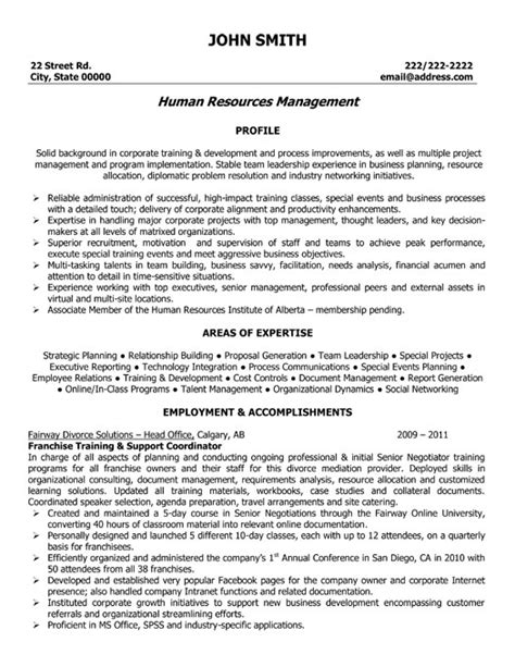 Franchise Development Manager Sle Resume by Human Resources Manager Resume Sle Template