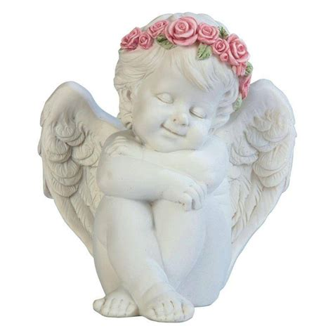 cute figurines cherub figurine hugging himself