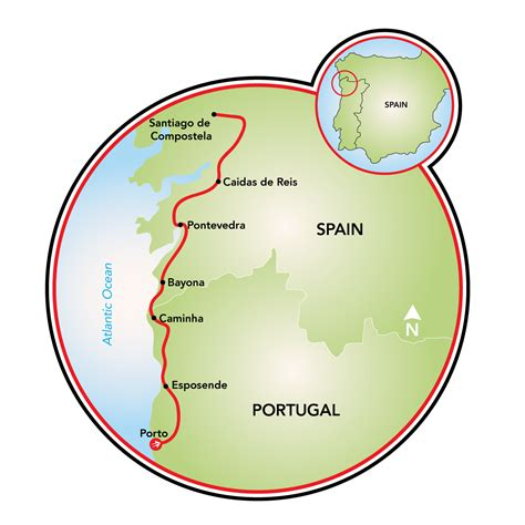 camino de compostela map camino de santiago bike tour portugal spain tripsite
