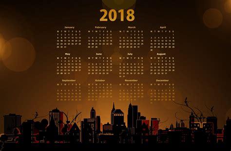 Calendar 2018 Background 2018 Calendar With A Cityscape 5k Retina Ultra Hd Papel De