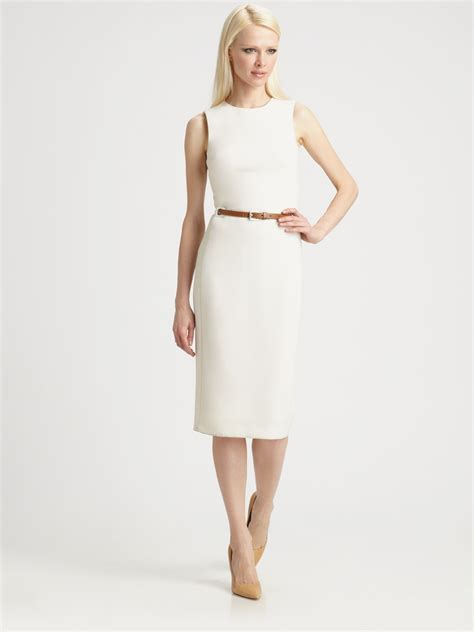 michael kors belted wool crepe dress in white lyst