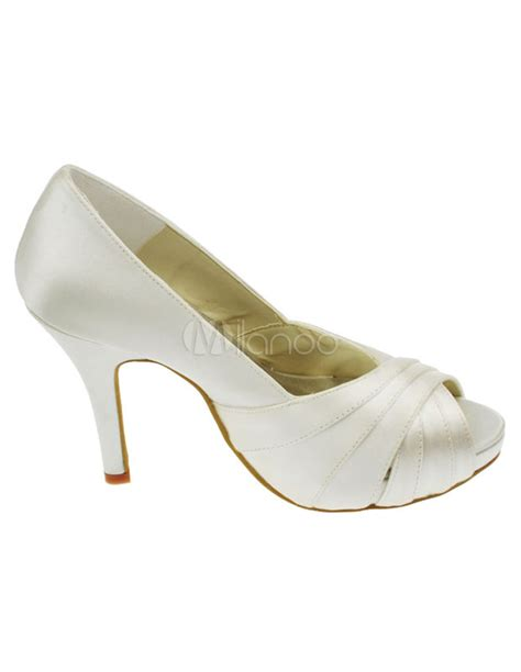 Wedding Shoes High Heels Ivory by Ivory High Heel Satin Wedding Shoes Milanoo