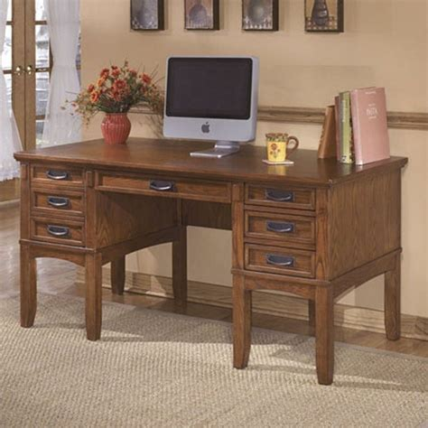 furniture cross island office desk in medium brown