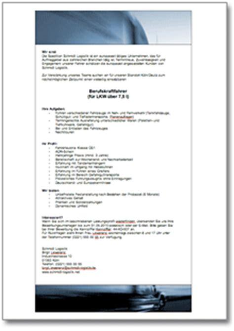 Word Vorlage Stellenanzeige Stellenausschreibung Berufskraftfahrer De Vorlage