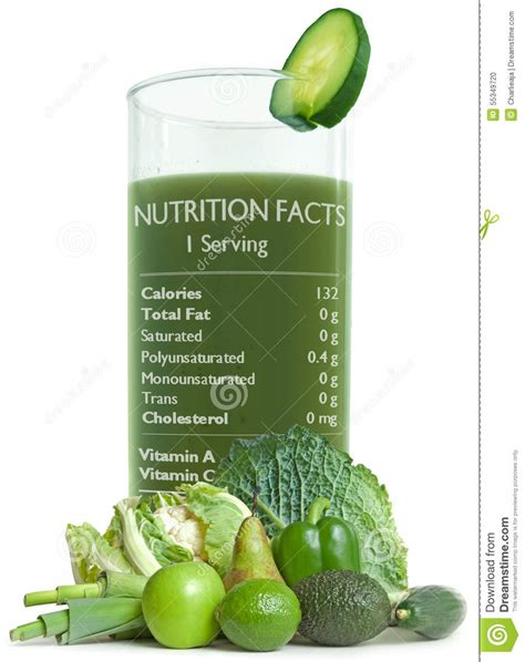 Green Juice Detox Dublin by Green Juice With Nutrition Facts Stock Photo Image 55349720