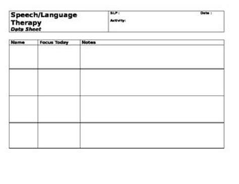 speech therapy slp group data sheet template a well