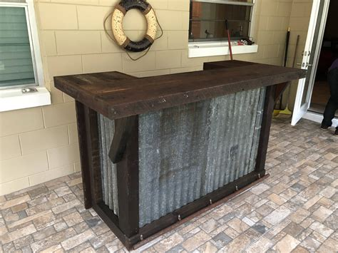 U Shaped Bar Table The And Rustic 6 Repurposed Barn Wood And Corrugated Rusted Metal Bar Sales Counter Or