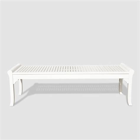 white outdoor bench backless outdoor bench in white v1608