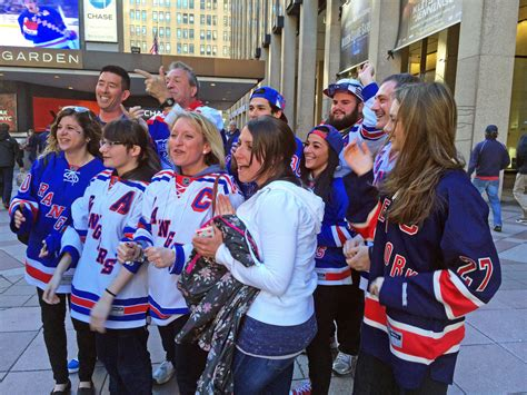 new york rangers fans new york rangers fans chanting lets go rangers outside m