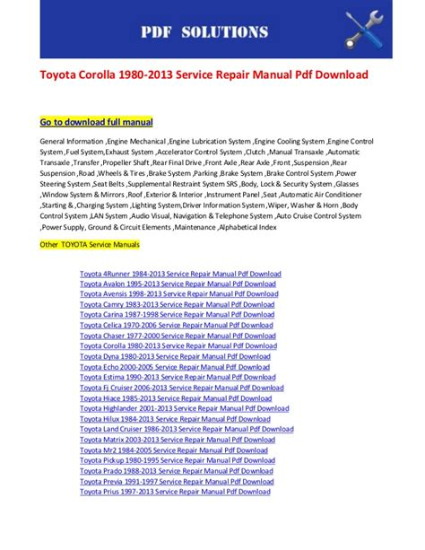 manual repair free 2009 toyota avalon engine control toyota corolla 1980 2013 service repair manual pdf download