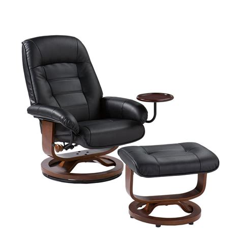 Leather Reclining Chair With Ottoman Home Decorators Collection Black Leather Reclining Chair With Ottoman Up1303rc The Home Depot