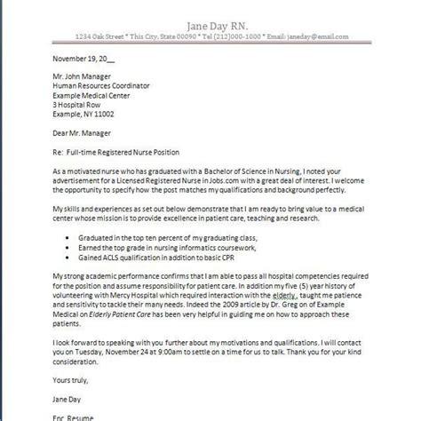 sample cover letter for registered nurse job application
