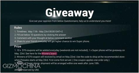 Umi Giveaway - giveaway win a umi super smartphone gizmochina