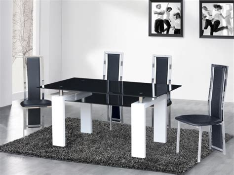 black glass dining table and chairs white high gloss
