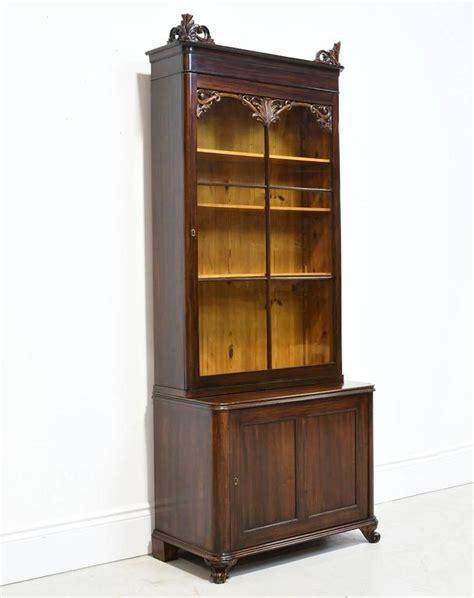 Narrow Mahogany Bookcase Narrow 19th Century Bookcase Or Vitrine With Cabinet In Mahogany Circa 1850 For Sale At 1stdibs