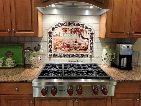 Mosaic Tile Backsplash Kitchen Ideas The Vineyard Tile Murals Tuscan Wine Tiles Kitchen Backsplashes