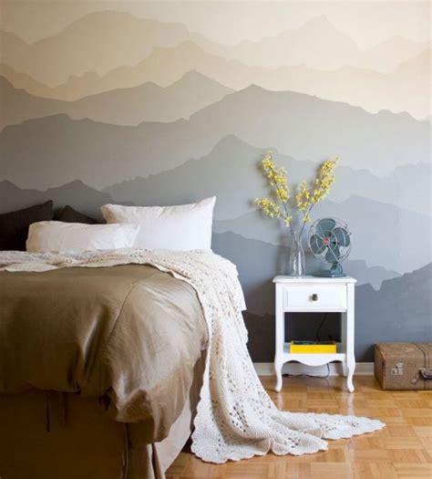 tete de lit montagne cr 233 er une tete de lit en peinture 20 inspirations canons