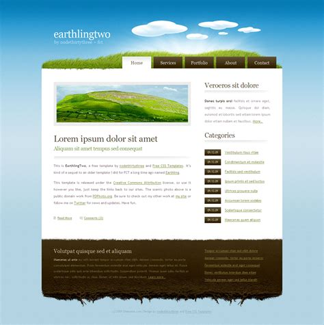 Free Template Earthlingtwo By Nodethirtythree On Deviantart Freecsstemplates Org Templates