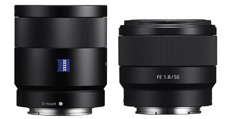 Sony 55mm F1 8 size comparison zeiss 55mm f1 8 vs sony fe 50mm f1 8