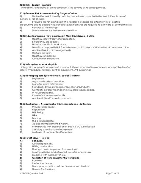 Ergonomic Evaluation Letter Nebosh Important Q A