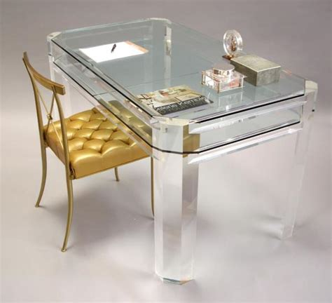 Small Lucite Desk Chair Acrylic Home Office Desks For A Clearly Fabulous Work Space