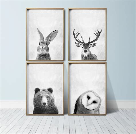 Woodland Nursery Decor Nursery Wall Animal Print Woodland Nursery Decor