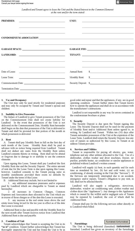 Free Apartment Lease Template New York