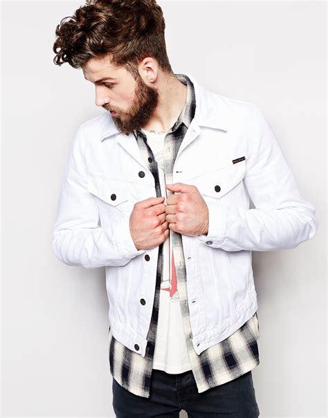 Jaket Denim White nudie nudie denim jacket perry white in white for lyst