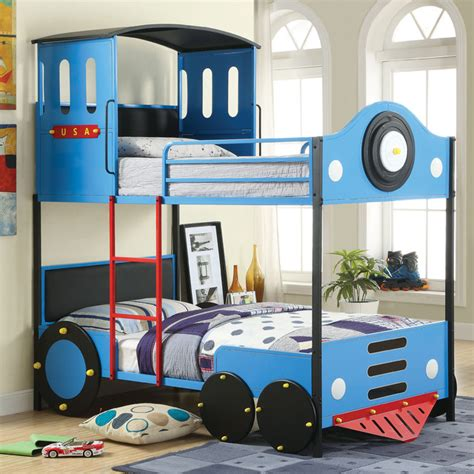 kids train bed furniture of america blue train locomotive metal youth