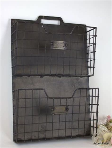 wall pocket organizer rustic style metal double wall pocket organizer file