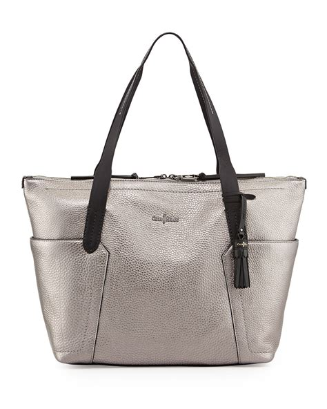 Cole Haan Kaylie Bag by Cole Haan Pebbled Zip Shopper Tote Bag Armor In Silver