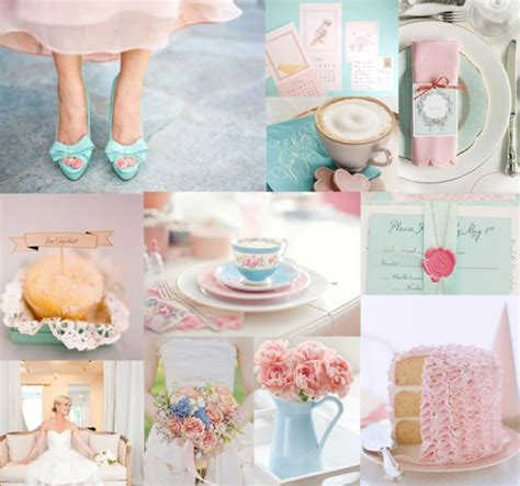 blue and pink wedding inspiration board