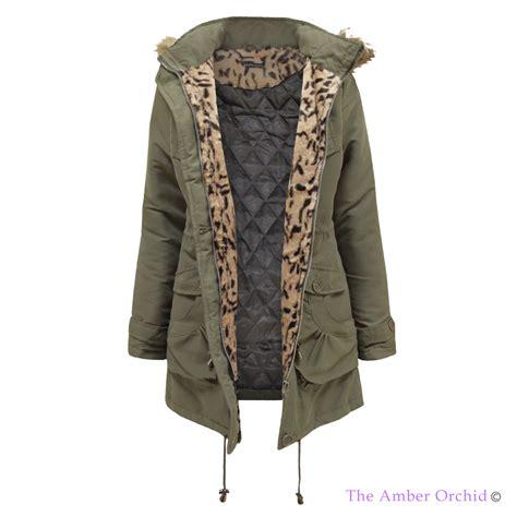 Jaket Parka Original Parka Cewe Best Seller womens quilted lined leopard animal fur hooded