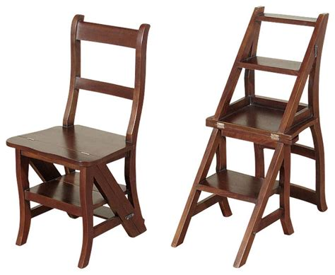 solid mahogany convertible ladder chair library step stool