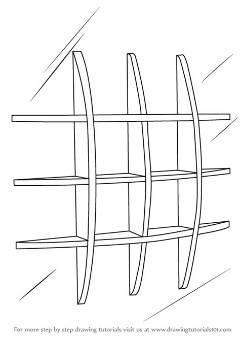 learn how to draw wall shelves furniture step by step